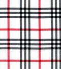 Snuggle Flannel Fabric-Trad White Black Red Plaid