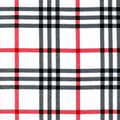 Snuggle Flannel Fabric-Black & Red Traditional Plaid on White