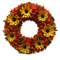 Blooming Autumn Wood Chip Flower & Pinecone Wreath