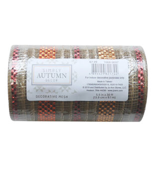 Simply Autumn Decor Decorative Mesh 5.5''x30'-Natural & Metallic Stripes