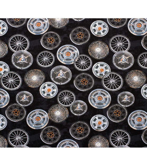 Novelty Cotton Fabric Tossed Hub Caps, , hi-res, image 1