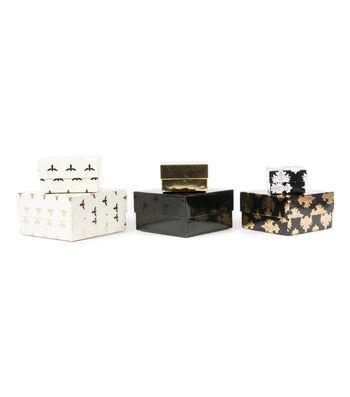 DCWV Designer Set of Nested Boxes: Black, White, and Cream