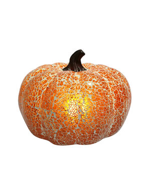 Simply Autumn 8'' Light Up LED Glass Pumpkin-Orange Crack