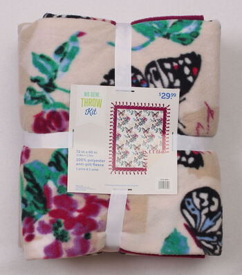 No Sew Fleece Throw Kit 72''-Butterflies & Flowers