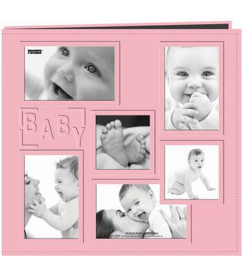 """Pioneer Collage Frame Sewn Embossed Cover Postbound Album 12""""X12""""-Baby"""