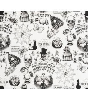 Halloween Cotton Fabric-Seance On White