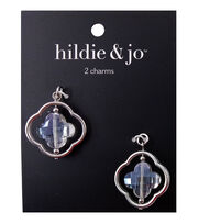 hildie & jo 2 pk 1''x1'' Silver Open Center Charms with Bead, , hi-res