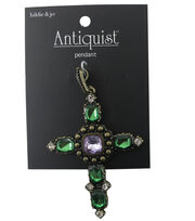 hildie & jo Antiquist Cross Pendant-Green & Purple Stones, , hi-res