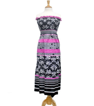 Style In An Instant  Shirred Dress Floral Stripe Black