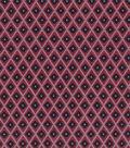 Vintage Cotton Fabric 43\u0027\u0027-Quartrefoil Diamond on Red