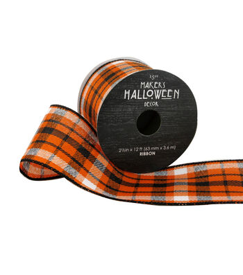 Maker's Halloween Ribbon 2.5''x12'-Plaid