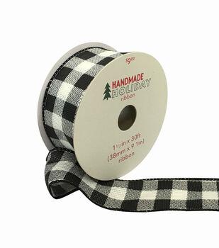 Handmade Holiday Christmas Ribbon 1.5''x30'-Black & White Buffalo Checks