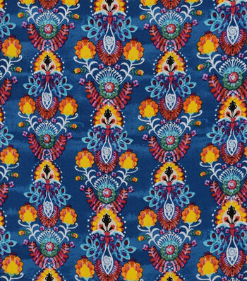 Silky Print Rayon Fabric 53''-Orange Boho Plumes on Blue