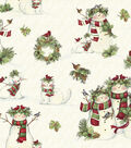Susan Winget Cotton Fabric 43\u0022-Snowmen and Pets