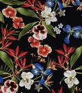 Silky Print Rayon Fabric 53\u0027\u0027-Multicolored Tropical Flowers on Black