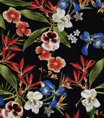 Silky Print Rayon Fabric 53''-Multicolored Tropical Flowers on Black