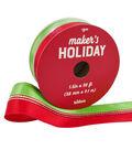 Maker\u0027s Holiday Ribbon 1.5\u0027\u0027x30\u0027-Red & Lime with Sparkled Centre Stripes