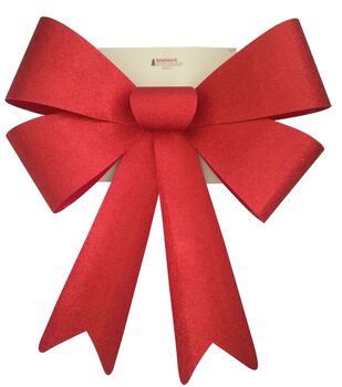 Handmade Holiday Christmas 20''x26'' Glitter Bow-Red