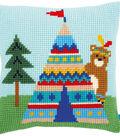 Vervaco 16\u0027\u0027x16\u0027\u0027 Cushion Cross Stitch Kit-Bear & Teepee