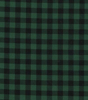 "Christmas Cotton Fabric 43""-Green Buffalo Check"