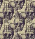 Halloween Cotton Fabric 43\u0022-Warnings Sketch Cream