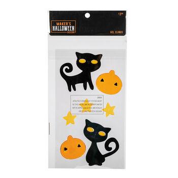 Maker's Halloween Decor 5.91''x9.84'' Gel Clings-Cats & Pumpkins