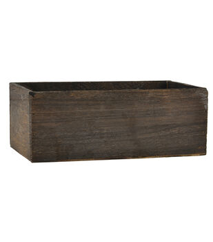 Rectangle Wood Grain Planter 10''-Brown Stain