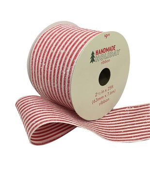 Handmade Holiday Christmas Ribbon 2.5''x25'-Sugar Candy Stripes