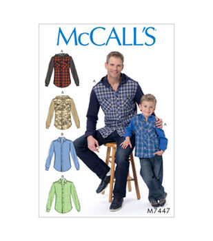 McCall's Pattern M7447 Men's/Boys' Button-Down Shirts with Hood/Collar
