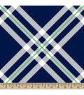 Blizzard Fleece Fabric 59\u0022-Diagonal Plaid Navy