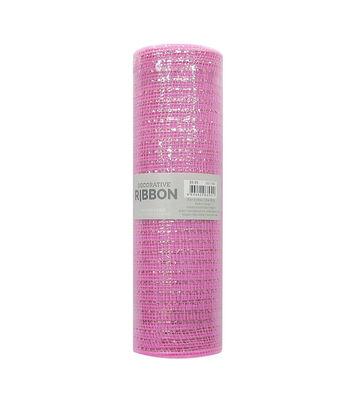 Decorative Ribbon Metallic Deco Mesh 10''x10 yds-Light Pink