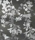 Holiday Shine Stretch Satin Fabric 58\u0022-Black & Gray Floral