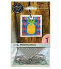 Cross Stitch Style Metal Necklace-Square