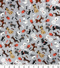 Novelty Cotton Fabric Whimsical Dogs on Gray