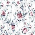 Premium Cotton Fabric-Burgundy Roses on White