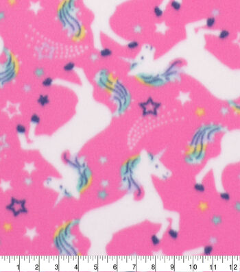 Blizzard Fleece Fabric-Rainbow Unicorn on Pink