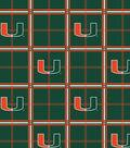 University of Miami Hurricanes Flannel Fabric 42\u0022-Plaid
