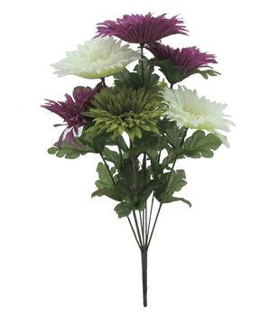 Faux flowers floral stems sprays joann blooming autumn spider gerbera daisy bush cream purple green mightylinksfo