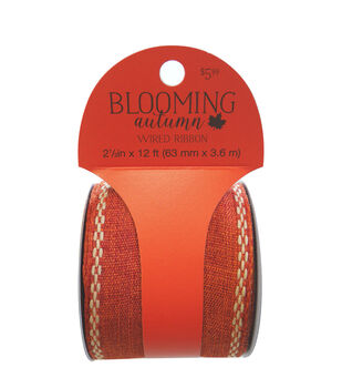Blooming Autumn Wired Ribbon with Stitched Edge 2.5''x12'-Orange