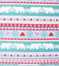 No Sew Fleece Throw 48\u0022-Fair Isle Pink Polar Bear