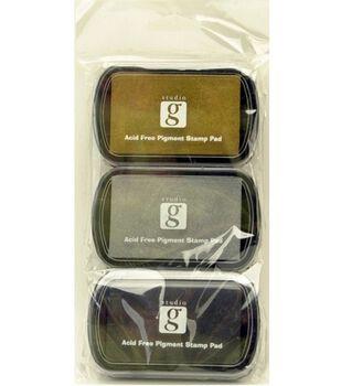Studio G Washable Ink Stamp Pads Black,Silver,Gold