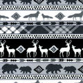 Nursery Flannel Fabric-Black & White Logan Animals & Stripes