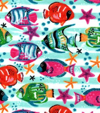 Snuggle Flannel Fabric 42''-Watercolor Tropical Fish