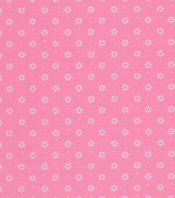 1930's Premium Cotton Print Fabric 43''-Flower Star on Pink