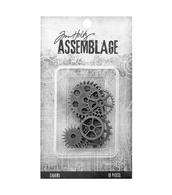Tim Holtz Assemblage Pack of 10 Gears & Cogs Charms
