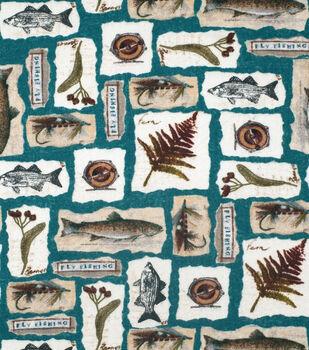 Super Snuggle Flannel Fabric-Fishing Elements