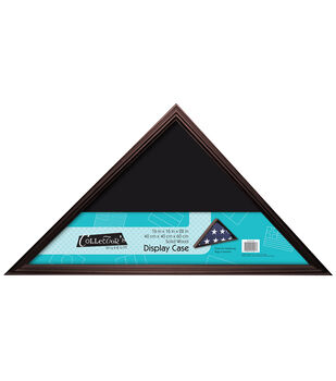 Collector's Museum Wood & Glass Flag Display Case-Chestnut