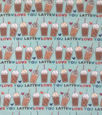 Doodles Juvenile Interlock Knit Fabric 57''-Latte Love on Blue