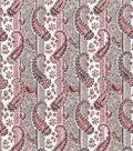 Vintage Cotton Fabric 43\u0027\u0027-Orange & Gray Paisley & Stripe