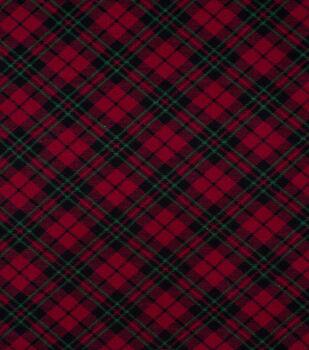 Super Snuggle Flannel Fabric-Black, Red & Green Plaid